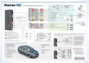 Схема подключения Старлайн Е60